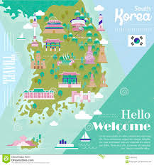 Map Of South Korea South Korea Travel Map Stock Vector Image 61890145