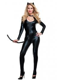 holloween costumes womens black leather cat costume