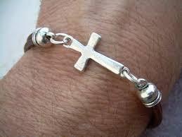 man bracelet cross images Leather bracelet cross bracelet men women unisex antique jpg