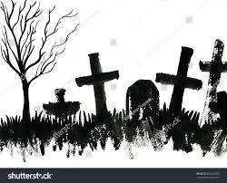 halloween horizontal background art freehand watercolor sketch outline illustration stock