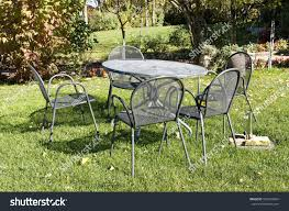 vintage wrought iron table chairs picnic stock photo 582763654