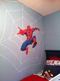 bedroom appealing spiderman room ideas with blue and red paint inspiring wall decor for spiderman room ideas plus wooden bed