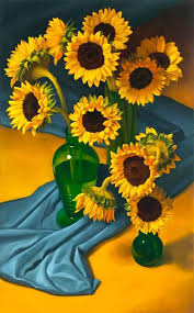sunflowers for sale mickilowski 12 sunflowers with blue cloth painting for