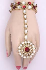 bracelet with ring designs images Designer kundan bracelet with ring indian jewelry bracelet jpg