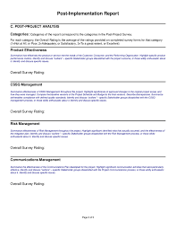 project analysis report template project implementation report sle professional and high