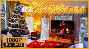 fireplace full hd 2 hours crackling logs u0026 snow for christmas