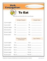to eat verb conjugation worksheets 2md 3rd 4th 5th grade