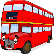 cartoon illustration showing a happy double decker london red bus