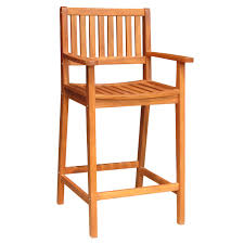 Acacia Wood Outdoor Furniture Durability by Solid Acacia Bar Stool With Arms Furniture Barn Usa