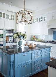 kitchen islands with granite countertops cornflower blue kitchen island with black granite countertop
