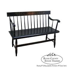 Sette Bench 9369 Hitchcock Black Painted Stenciled Windsor Style Settee Bench
