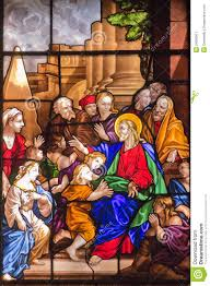jesus christ and children stained glass window stock image image
