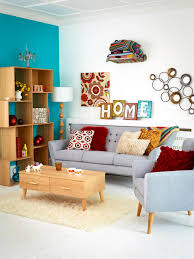 retro living room ideas grey pigeon sitting on colorful retro living room interior