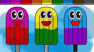 learn colors for kids and color this happy popsicle coloring page
