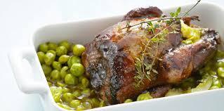 cuisiner pigeon pigeon caramélisé et petits pois facile recette sur cuisine actuelle
