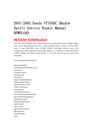 2001 2003 honda vt750 dc shadow spirit service repair manual download
