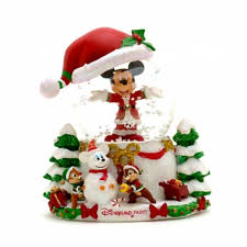 mickey mouse chip n dale snow globe
