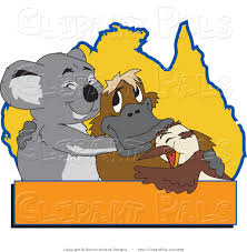 Blank Australia Map by Pal Clipart Of A Gray Koala Platypus And Bird Hugging In Front Of