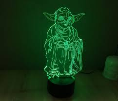 star wars yoda hologram 3d lights table desk lamp home decor