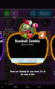 baseball zombie plants vs zombies heroes plants vs zombies