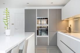 white and grey glass handleless nolte matrix art kitchen home