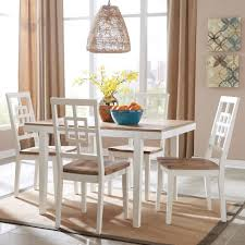 Modern White Dining Room Set by Signature Design By Ashley Brovada Contemporary White Light Wash 5