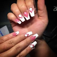pink and white negative space acrylic coffin nails nails by