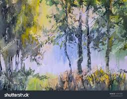forest glade landscape forest glade watercolor stock illustration 107614085