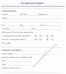 resume application form sample fresh 4 job application form