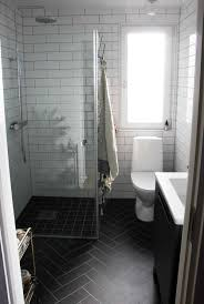 Beveled Subway Tile Shower by I Love Everything About This Bathroom The Black Herringbone Floor