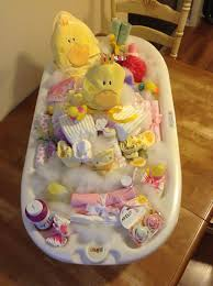 baby shower gift ideas sweet baby shower gift the base of the tub is filled with diapers