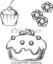 vector of cake cupcake and cookies sketches sketch of sweet