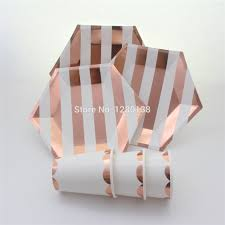 aliexpress com buy foil rose gold striped tableware party