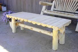 white cedar log coffee table