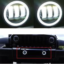 jeep headlights halo led halo headlights led fog light drl combo kit for jeep wrangler