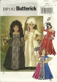 classy patterns butterick p182 girls masquerade renaissance gown