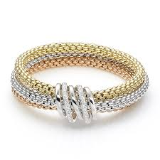 yellow gold bracelet with diamond images Fope mialuce 18ct three colour gold bracelet with diamond plain bars jpg