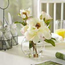 peony arrangement faux white peony arrangement in glass vase reviews joss