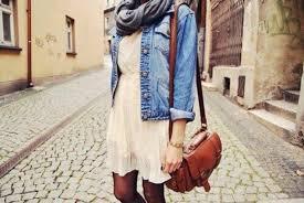 dress cream dress denim jacket boots scarf white dress