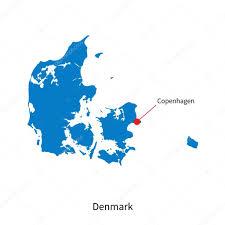 detailed vector map of denmark and capital city copenhagen u2014 stock