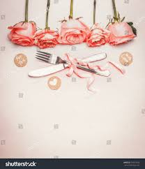 Table Place Settings by Romantic Dinner Background Table Place Setting Stock Photo