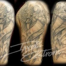 beautiful wings tattoo 3 wings half sleeve tattoo on