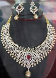 white stone necklace sets images Bridal set with changeable stones jewellery designs jpg