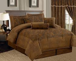 What Size Is A Full Size Comforter Amazon Com 7 Piece Dark Camel Brown Lavish Oversize 106
