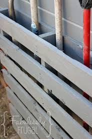store lawn tools with a pallet