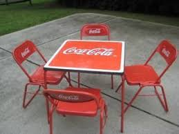 coca cola table and chairs coca cola bleacher chair