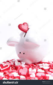 heart shaped piggy bank heartshaped candies piggy bank stock photo 199365413