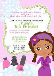 Invitation Card Party Birthday Spa Party Invitations Kawaiitheo Com