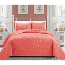 Pink Bedroom Sets Small With Pink Tv Mainstays Coral Damask Bed In A Bag Bedding Set Walmart Com