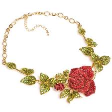 rose flower necklace images Ritzy crystal single rose flower necklace ritzy crystal from jpg